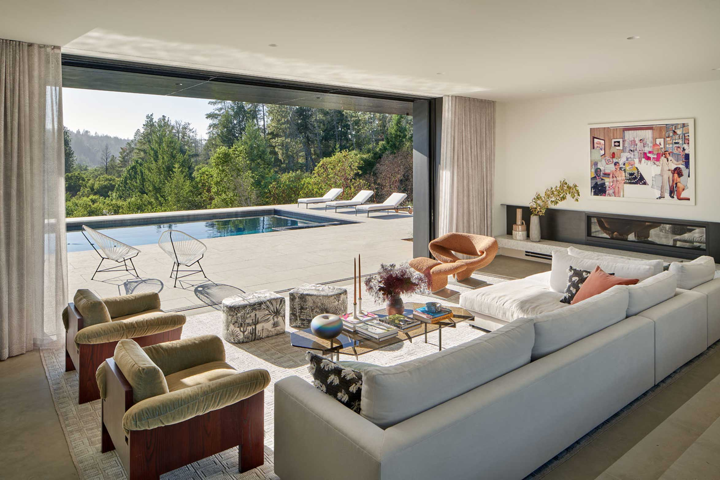 Elevated Mood - living room with pool view