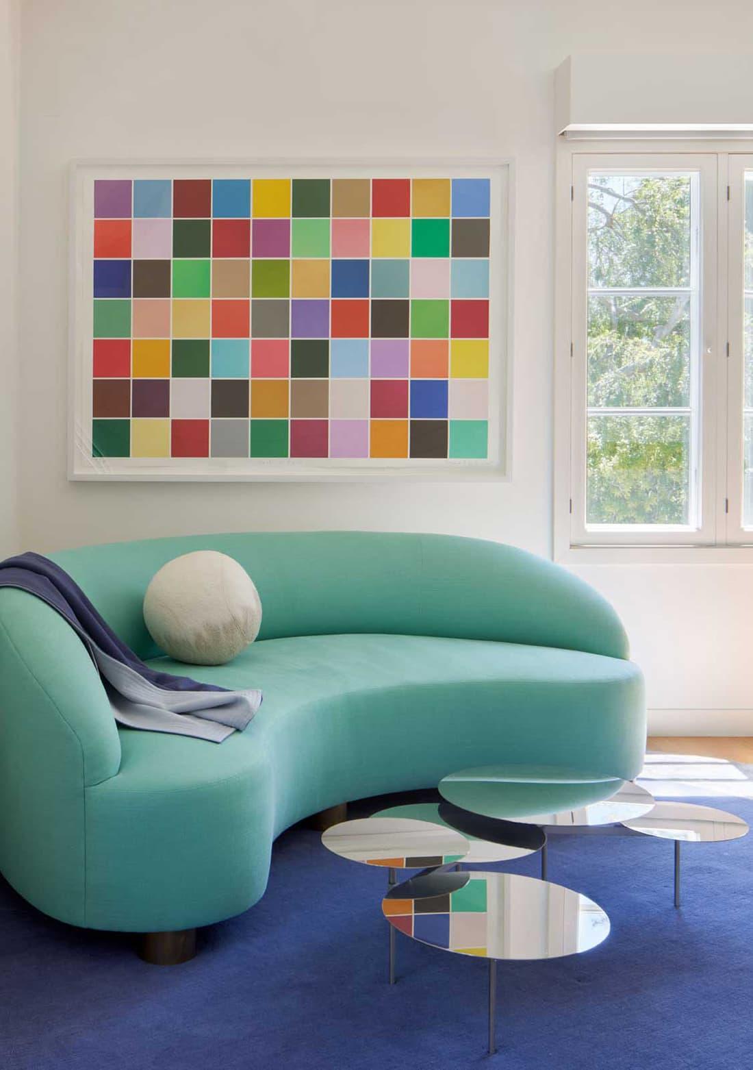 No Ordinary Blue - Living Room with round sofa