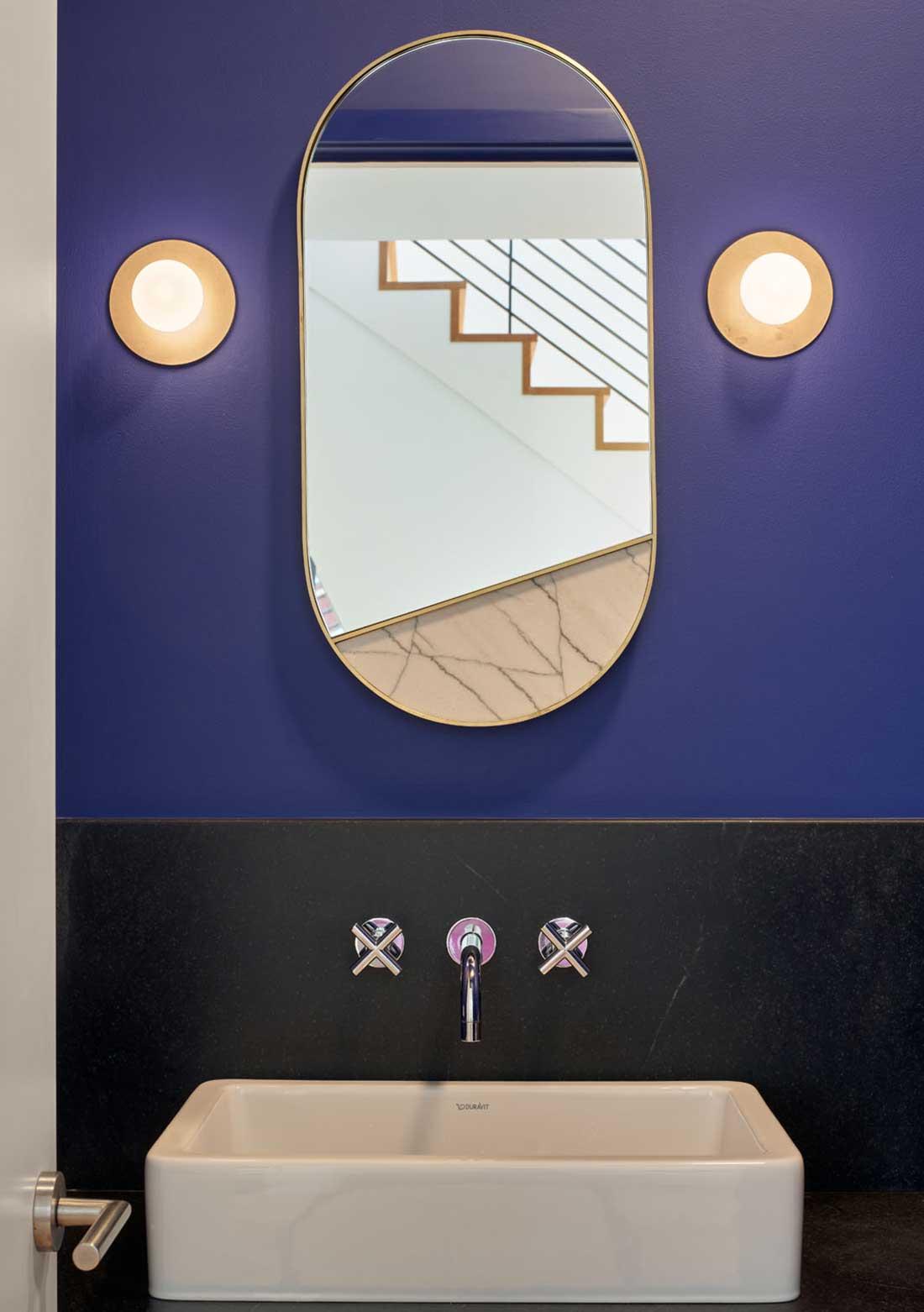 No Ordinary Blue - dark color bathroom