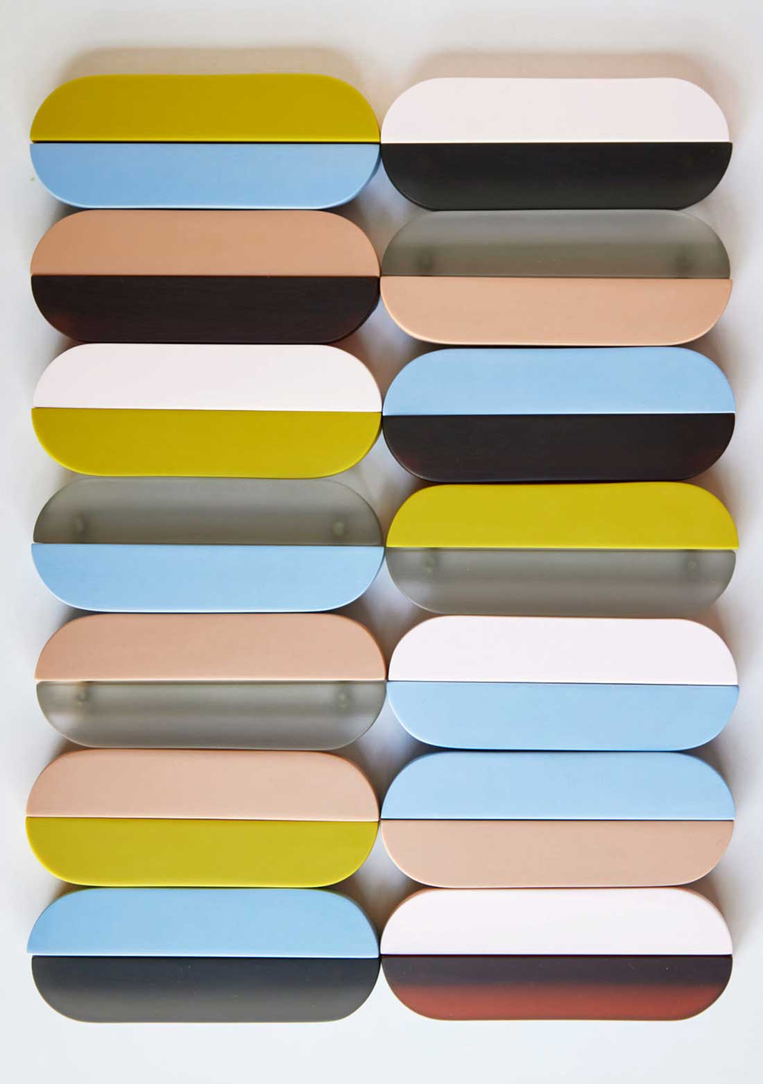 Tina Frey - art objects organized in 2 columns